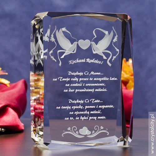Pamiątka Ślubu »Gołąbki Miłości« GRAWER 3D w szkle + GRATIS dedykacja