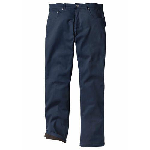 Spodnie ocieplane ze stretchem Regular Fit Straight bonprix ciemnoniebieski, kolor niebieski