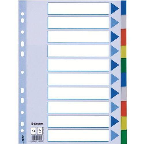 Przekładki plastikowe 10 kartek ESSELTE PP A4 kolorowe - X02737