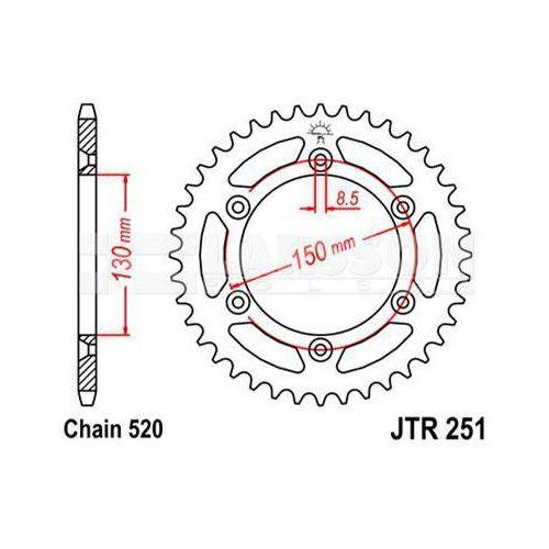 Zębatka tylna stalowa jt r251-49, 49z, rozmiar 520 2302559 yamaha yz 125, wr 400 marki Jt sprockets