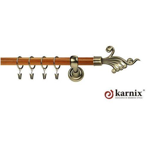 Karnix Karnisz metalowy prestige pojedynczy 25mm fantazja antyk mosiądz - calvados
