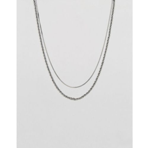 Mister Double Chain Rope Necklace In Silver - Silver, kolor szary