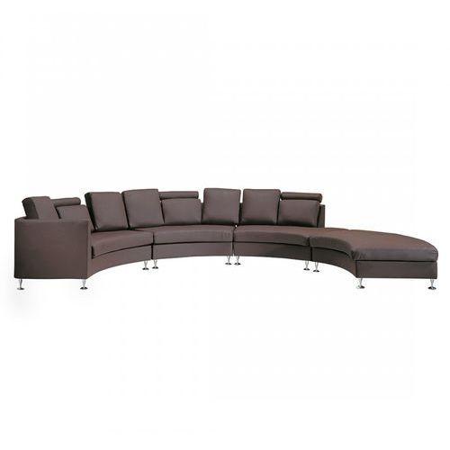 Półokrągła skórzana sofa kanapa brązowa 8 miejsc siedzących santis marki Blmeble