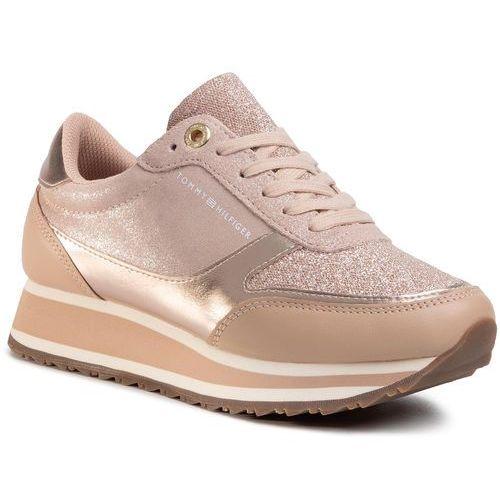 Sneakersy TOMMY HILFIGER - Metallic Retro Runner FW0FW03337 Mahogany Rose 641, kolor różowy