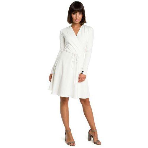 6c04dc0841 Ecru Casualowa Rozkloszowana Sukienka z Dekoltem V na Zakładkę