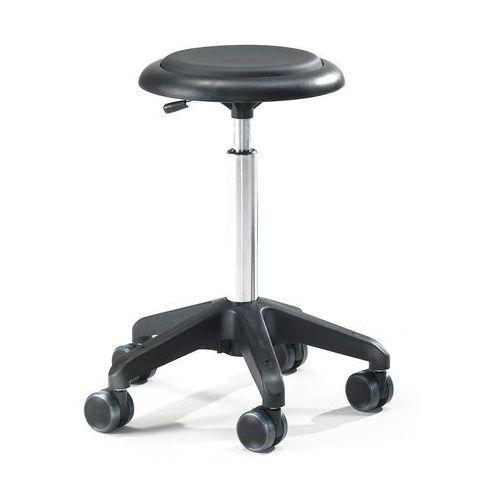 Mobilny stołek roboczy DIEGO, 540-730 mm, czarna eko-skóra, 210684
