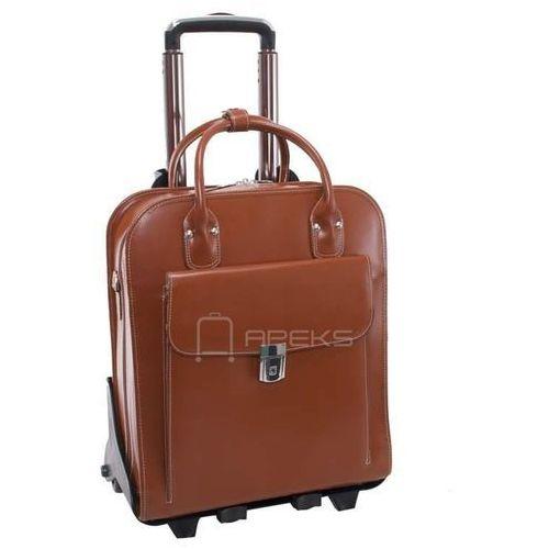 "McKlein La Grange skórzana damska torebka na laptopa 15,4"" z dopinanym stelażem na kółkach - brązowy (6421549649460)"