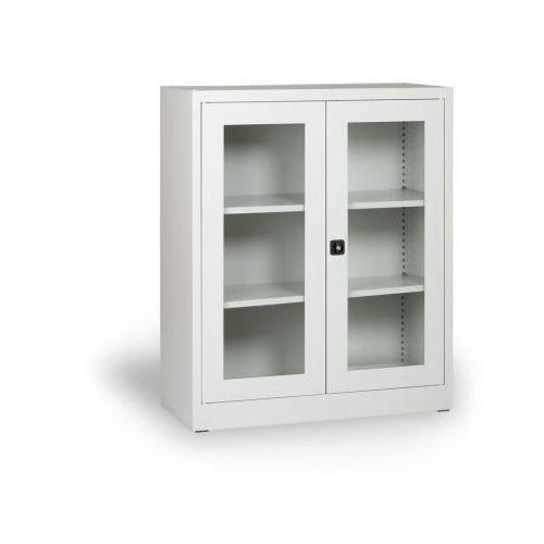 Szafa ze szklanymi drzwiami, 1150 x 920 x 400 mm, szara marki Alfa 3