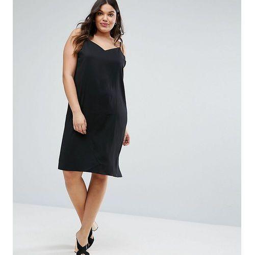 ASOS CURVE Cami Midi Slip Dress - Black, kolor czarny