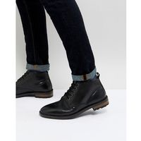 military lace up ankle boots in black leather - black, Ben sherman