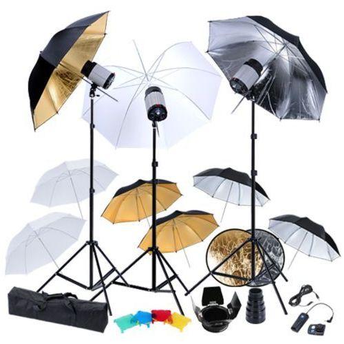 vidaXL Zestaw studio: 3 lampy, 9 parasolek, statywy i blenda (8718475815112)