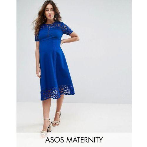 premium lace insert midi dress - blue marki Asos maternity
