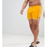 ellesse PLUS Swim Shorts with Taping Exclusive In Orange - Orange, kolor pomarańczowy