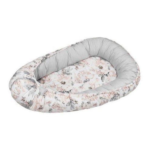 Bubaland Kokon niemowlęcy / gniazdko dla noworodka - flowers gray (zestaw materacyk + motylek) (5902211628897)