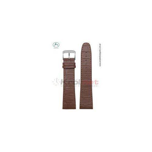 Pasek Kuki 0210/24XL - brązowy przeszywany, faktura krokodyla, long, 4398