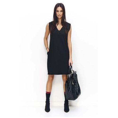 Makadamia Czarna prosta midi sukienka bez rękawów z kieszeniami