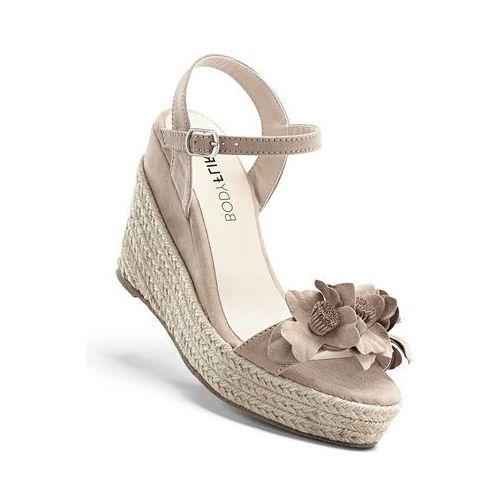 Bonprix Sandały na koturnie beżowo-piaskowy