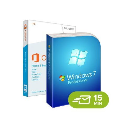 Windows 7 professional + office 2013 home and business, licencje elektroniczne 32/64 bit marki Microsoft