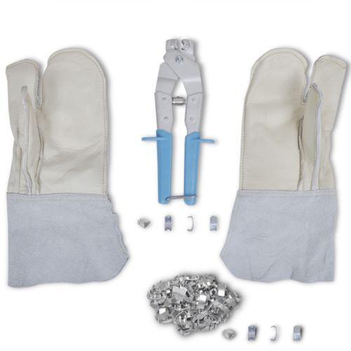 Vidaxl  nato rękawice do drutu kolczastego, aplikator zacisków i 200 spinaczy