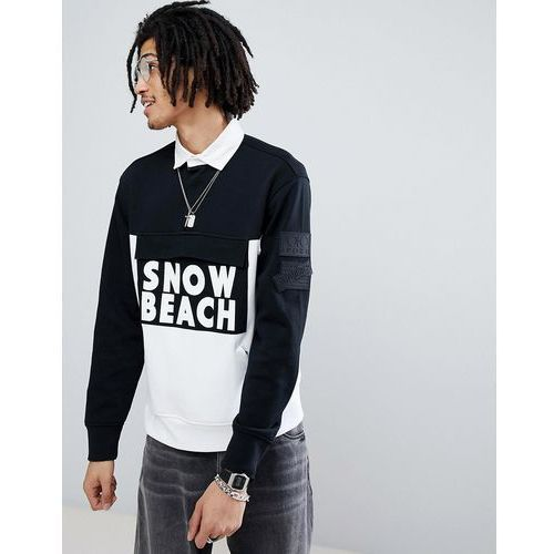 snow beach limited capsule rugby polo in black/white - black marki Polo ralph lauren