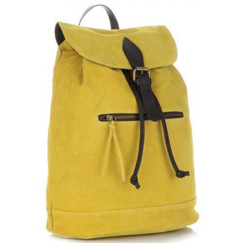 Stylowe plecaczki skórzane z zamszu naturalnego firmy żółte (kolory) marki Vittoria gotti