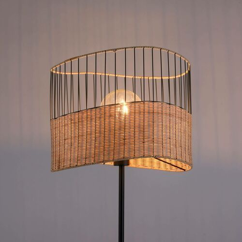 Leuchten direkt Lampa podłogowa reed z drewna i metalu (4043689970031)