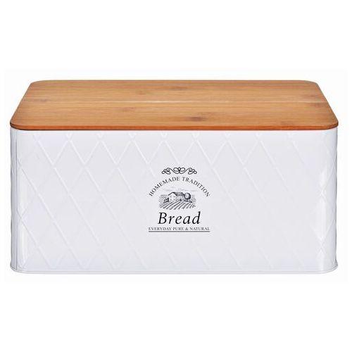 Nowoczesny chlebak z deską bambusową w białym kolorze, designerski i praktyczny pojemnik na pieczywo