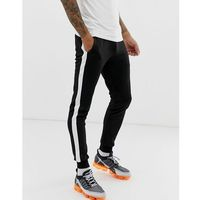 ASOS DESIGN super skinny joggers in poly tricot with side stripe in black - Black
