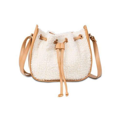 Torebka na ramię ze sztucznego futerka wielbłądzia wełna - kremowy marki Bonprix