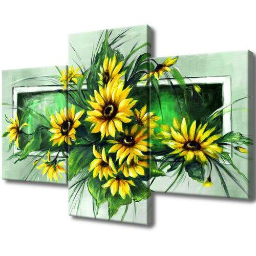 Obraz na Płótnie Słoneczniki w zieleni kwiaty na