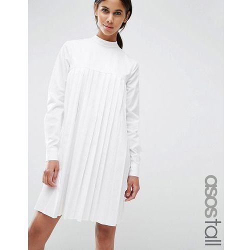 ASOS TALL Long Sleeve Cotton Pleated Dress - White