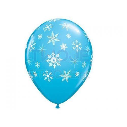 Twojestroje.pl Balon błękit płatki śniegu białe 30cm 1szt