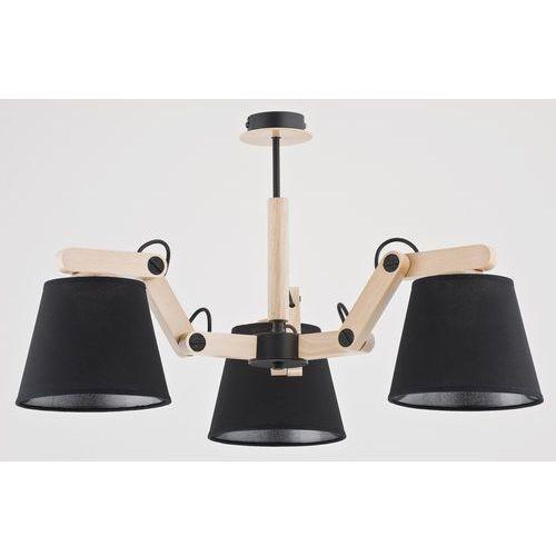 Alfa Żyrandol lampa wisząca zwis oprawa joga black 3x60w e27 czarny drewno 22713 (5900458227132)