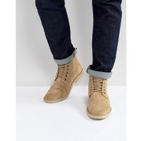 ASOS Desert Boots In Stone Suede With Leather Detail - Stone