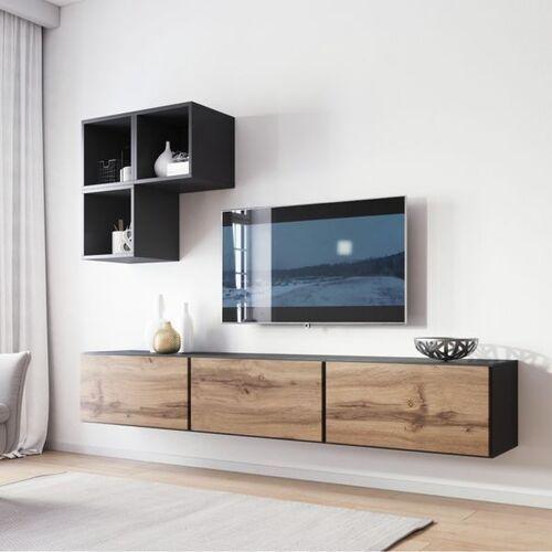 High glossy furniture Nowoczesna meblościanka rock 6 antracyt mat - wotan mat
