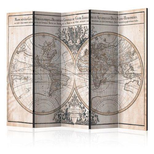 Artgeist Parawan 5-częściowy - mappe-monde geo-hydrographique [room dividers]