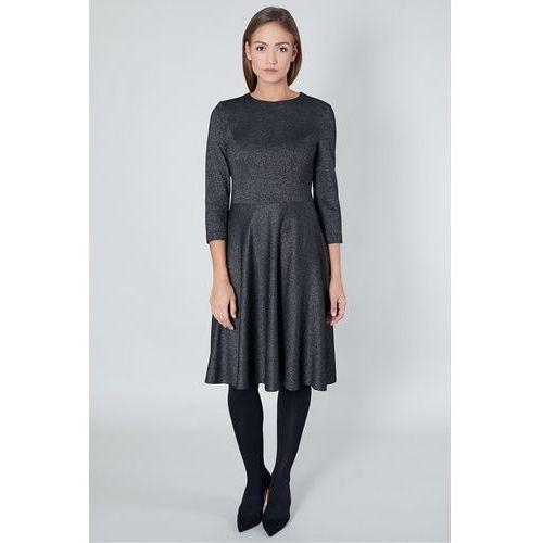 Wieczorowa sukienka z metalicznym połyskiem - Click Fashion, kolor szary