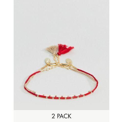 Orelia Seedbead & Tassel Bracelet 2 Pack - Red, kolor czerwony