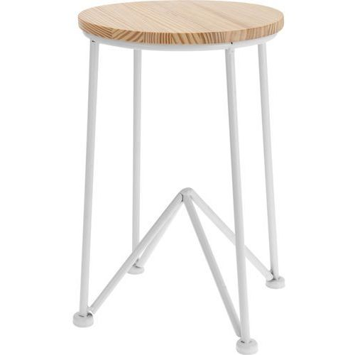 Home styling collection Taboret, stołek czteronożny, metalowy stołek z drewnianym siedziskiem - kolor biały