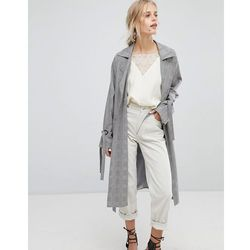 Current air check duster jacket with tie sleeve detail - grey