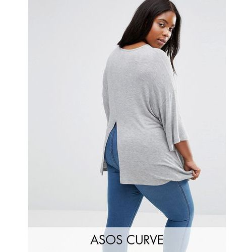 ASOS CURVE Top with Kimono Sleeve and Split Back in Oversized Fit - Grey