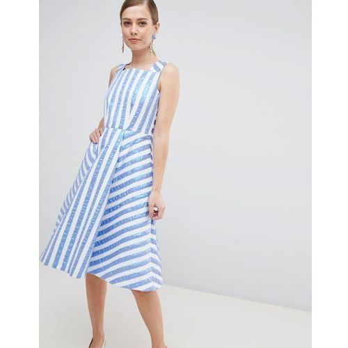 striped midi prom dress - blue marki Closet london