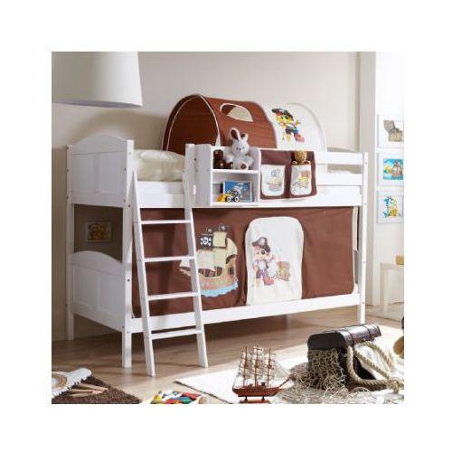 Ticaa łóżko piętrowe erni country pirat białe drewno sosnowe kolor brązowo-beżowy, marki Ticaa kindermöbel