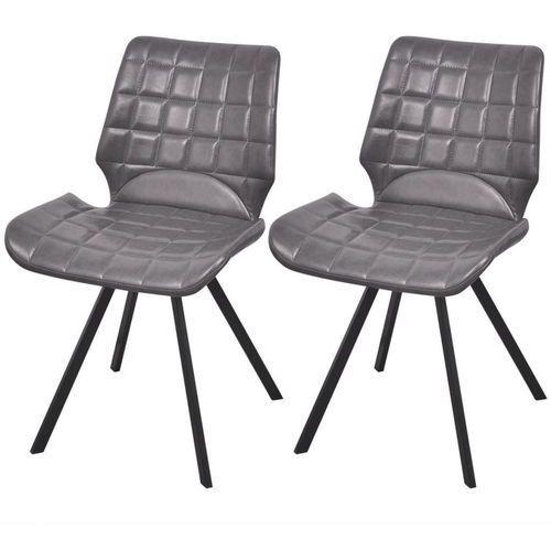 Krzesło do jadalni obite ekoskórą 2 szt, szare, kolor szary