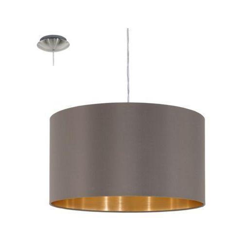 Lampa wisząca Eglo Maserlo 31603 z abażurem 1x60W E27 fi38 ciemnoszary/złoty