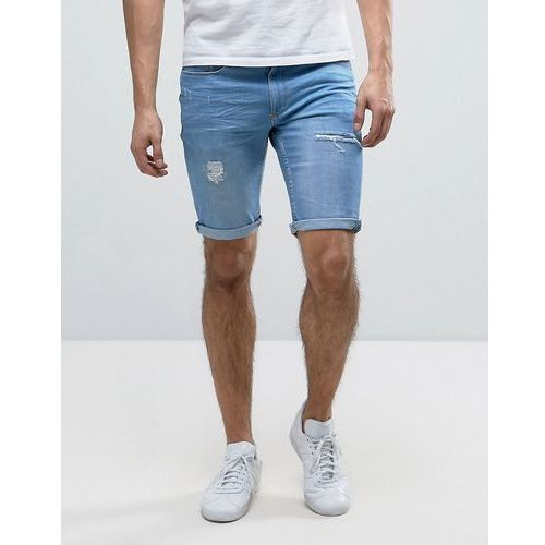 River island  skinny denim shorts with rips in light wash - blue