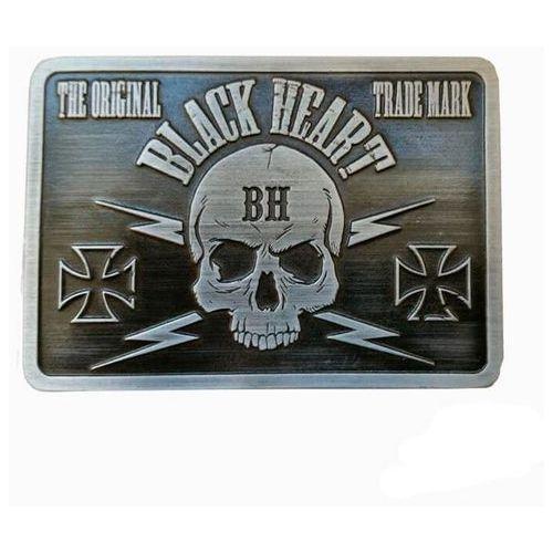 Klamra do paska BLACK HEART Bastard Skull Buckle, Srebrny