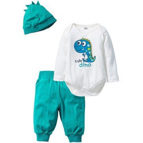 Bonprix Body niemowlęce z długimi rękawami + spodnie + czapka (3-części), bawełna organiczna  biel wełny - szmaragdowy, kategoria: czapki i nakrycia głowy dla dzieci