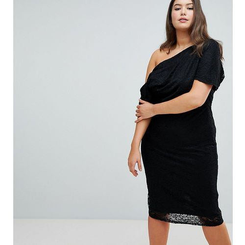 Asos design curve pleated shoulder lace midi dress - black, Asos curve