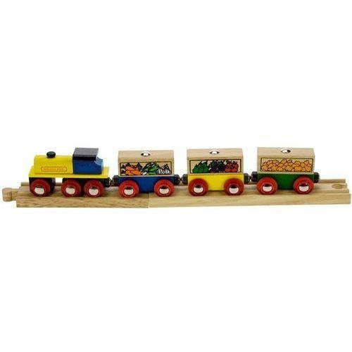 Pociąg z Owocami i Warzywami do zabawy dla dzieci, wyposażenie kolejek Bigjigs